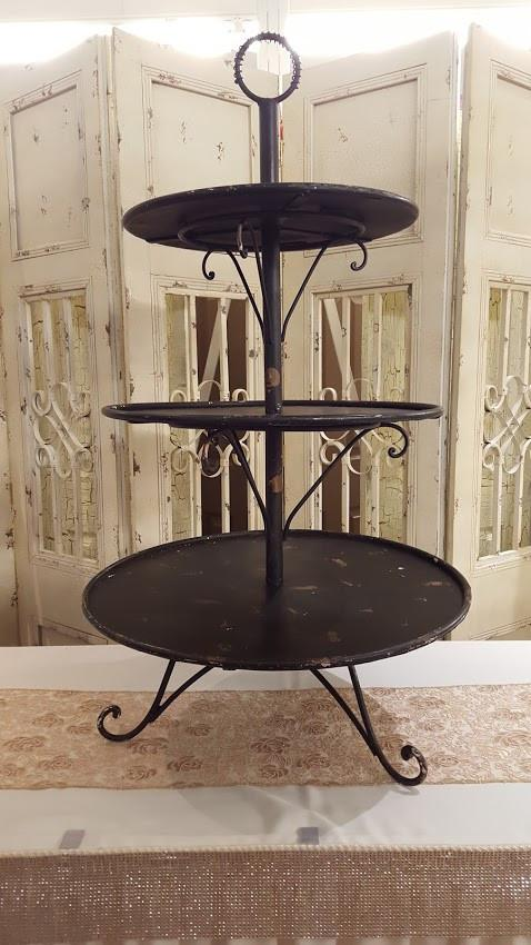 3-Tier Black Vintage Cupcake Stand Image