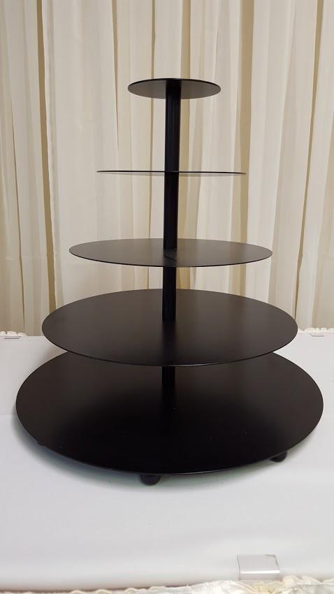 5-Tier Black Round Cupcake Stand Image