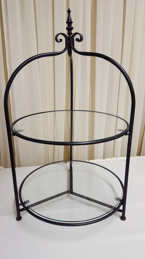 2-Tier Black Cupcake Stand with Glass Image