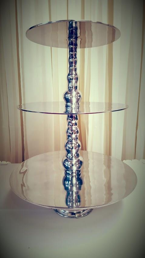 3-Tier Silver Beaded Cupcake Stand Image