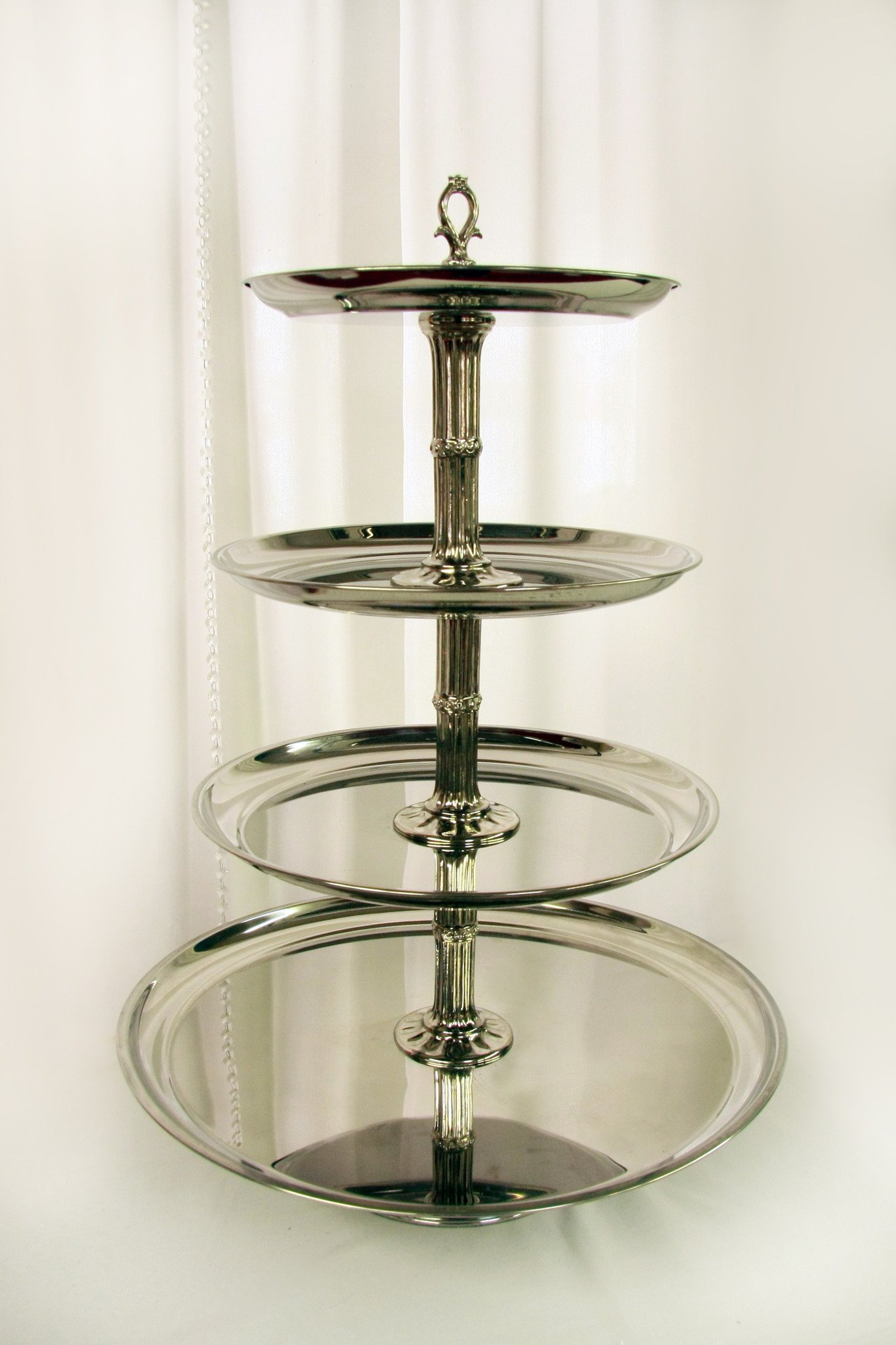 4 Tier Shiny Silver Cupcake Stand Image