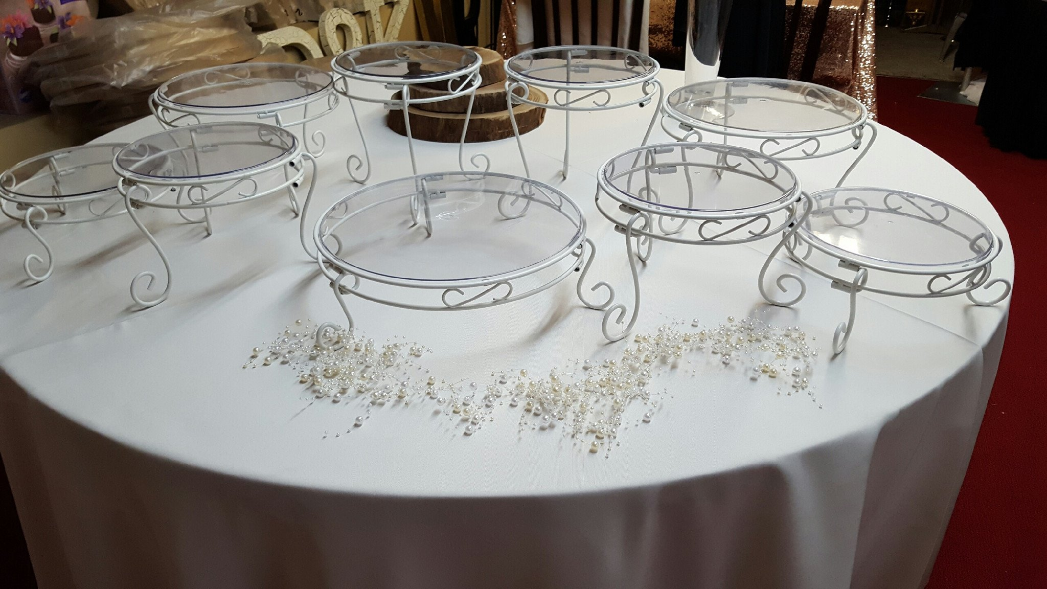 White with Clear Top Cake Stands Image