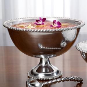 Silver Beaded Punch Bowl Image