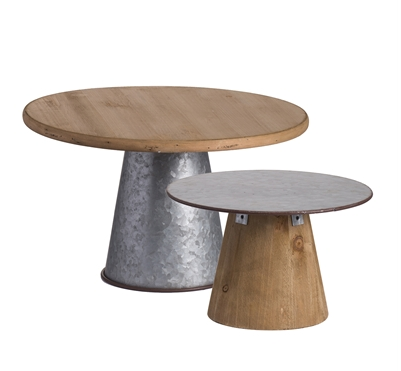Galvanized and Wooden Cake Stands Image