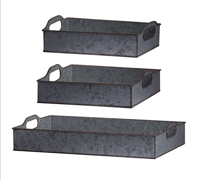 Galvanized Tray with Tin Handles Image